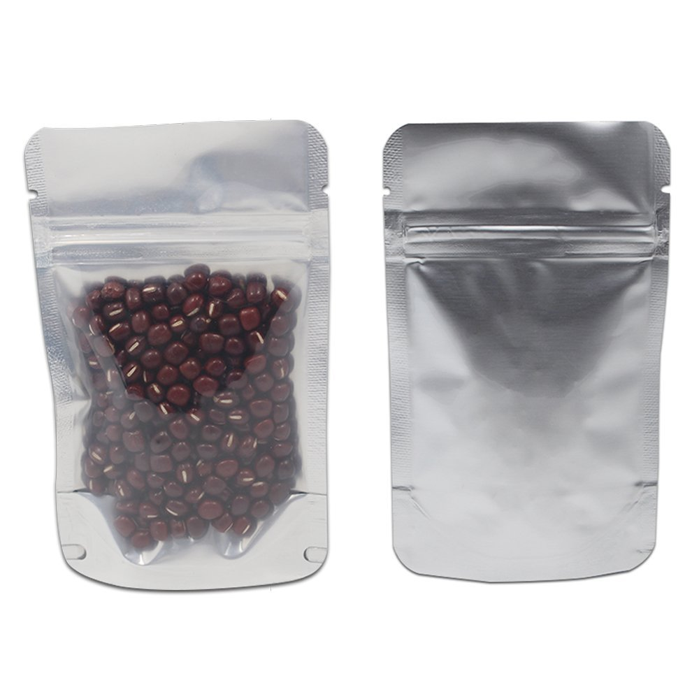 Stand Up Alone 4.7mil Thick Pure Mylar Foil Front Clear Plastic Zipper Bags Airtight Food Storage Heat Seal Pouch Aluminum Foil Smell Proof Coffee Pet Food Packaging (6.7x10.6inch-5.3oz Tea, 150 Pcs)