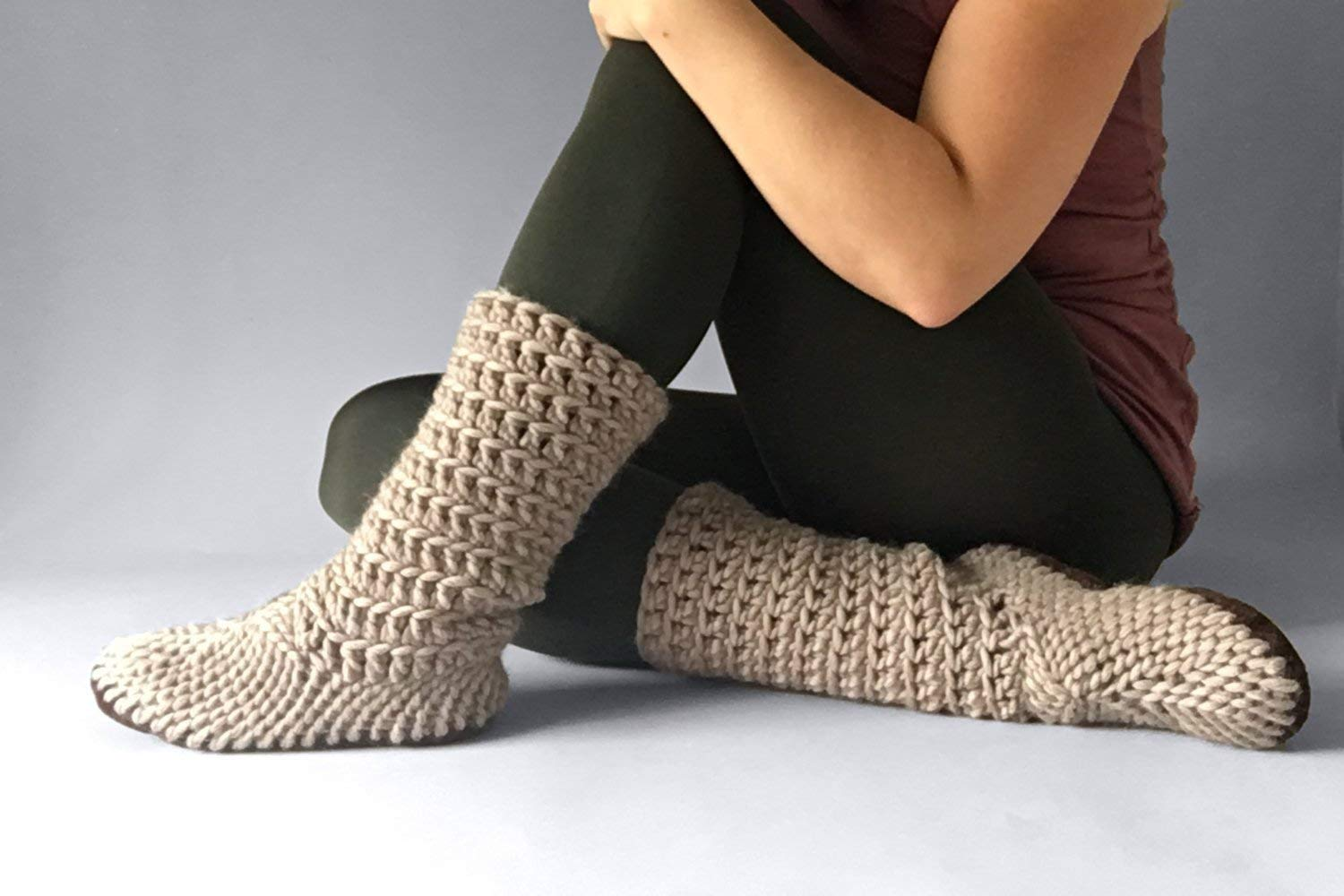 Muffle Boot Fawn - House Shoe for Women, Eco Wool Shoes, Custom Made Booties, Cute Slippers Women, Crochet Shoes, Eco Friendly Slippers