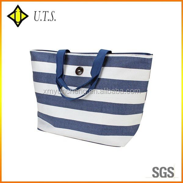 blue & white strip recycled cheap wicker bag lady beach bag