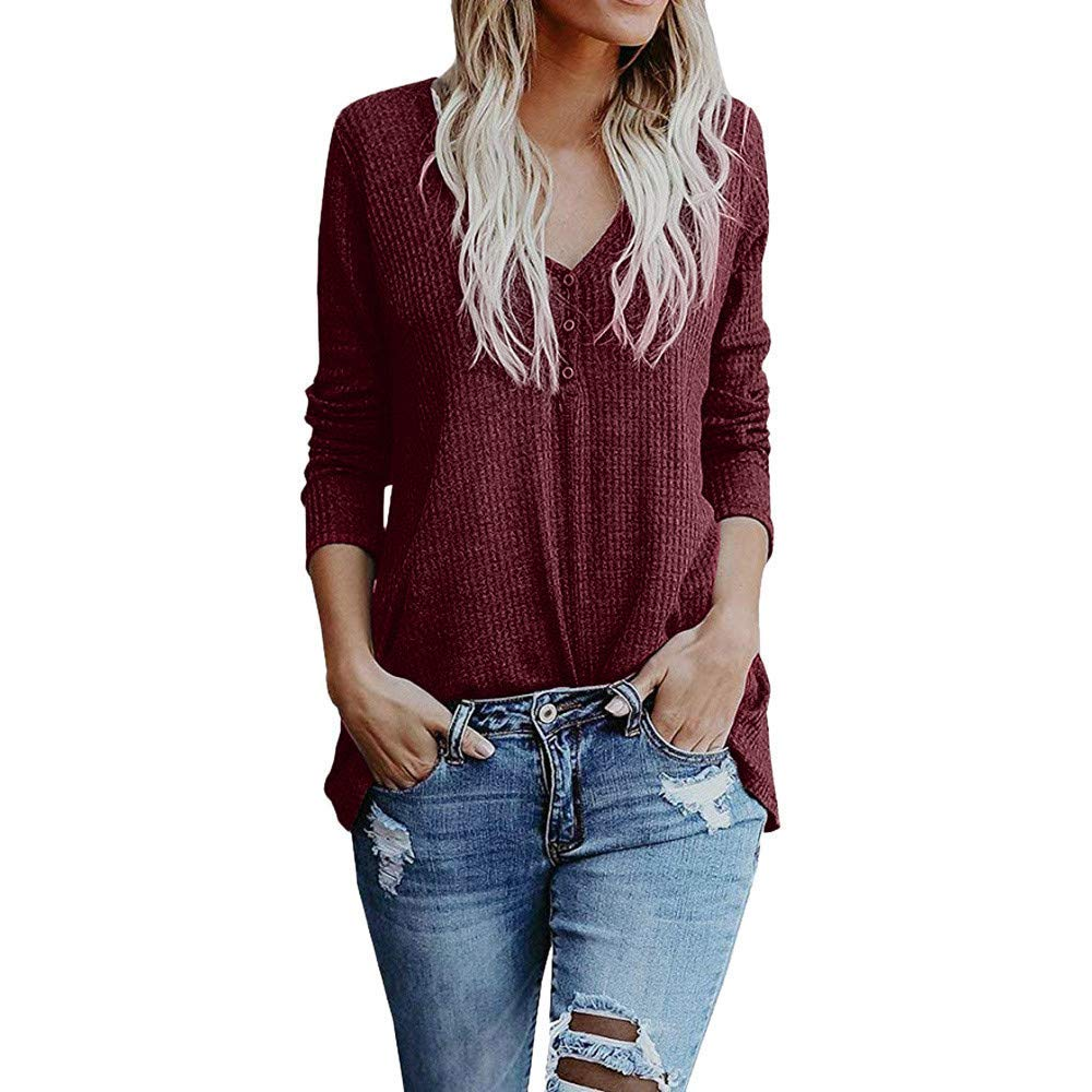 Womens Tops Clearance Sweatshirt Women's Long Sleeve Blouse Fall Button Pullover Loose Knit Blouse Tops