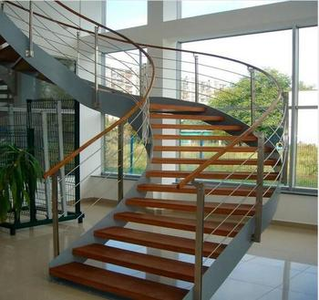 Carbon Steel Curved Stair Wood Steps Curved Staircase Design Buy