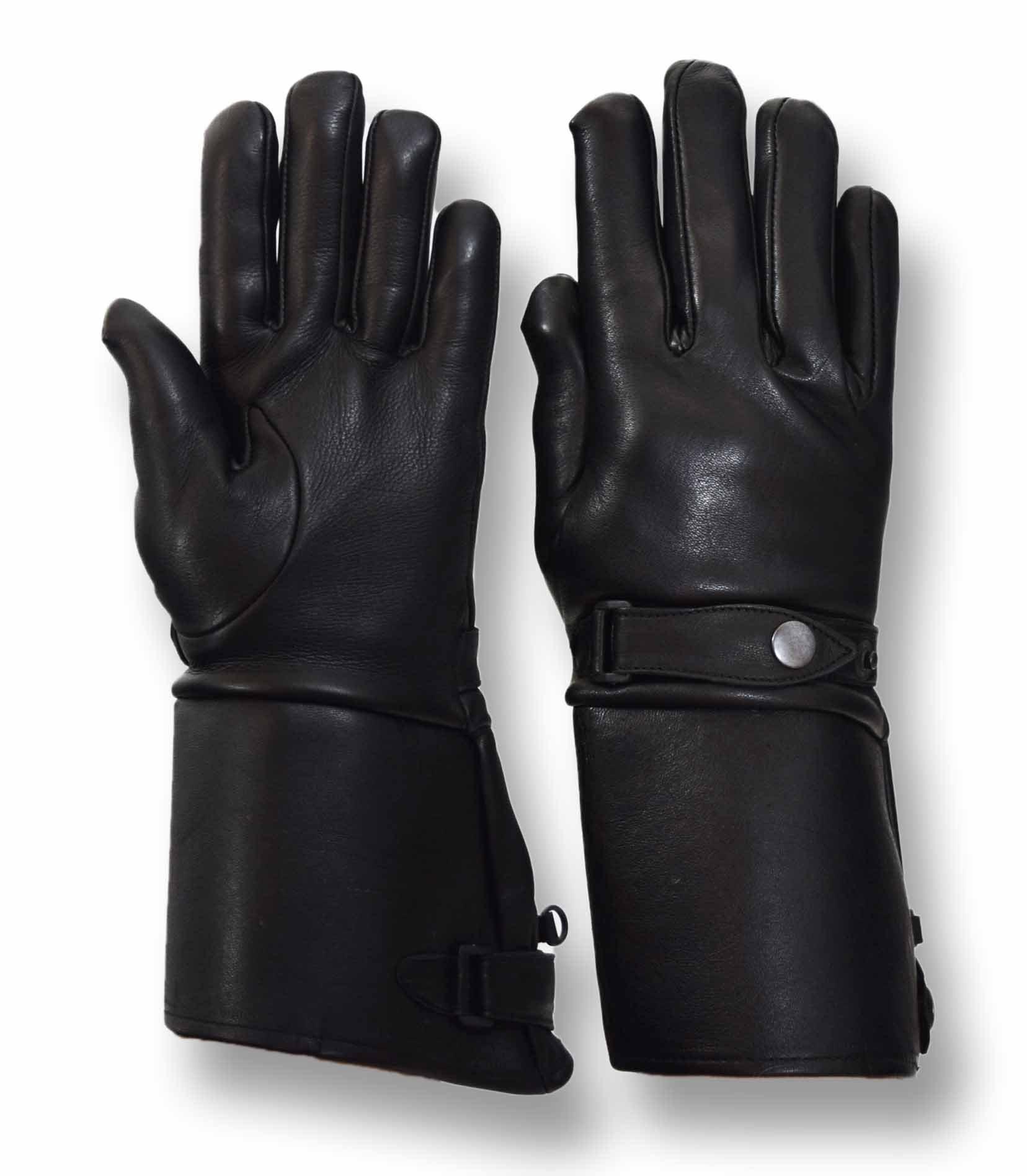 Vance Leathers Men's Premium Deerskin Gauntlet Motorcycle Gloves - Black - L