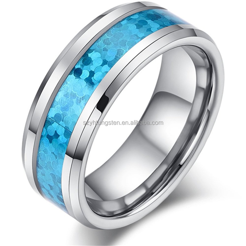8mm - Man or Ladies - Luxury Tungsten Carbide Beveled Edge Hawaiian Blue Opal Inlay Wedding Band Ring