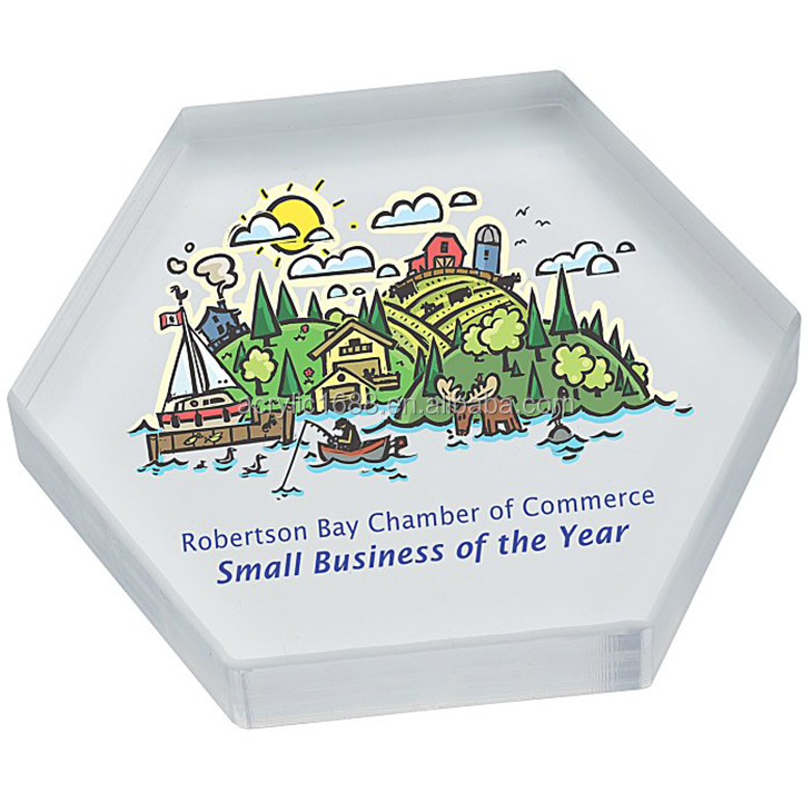 Customized clear hexagon acrylic paperweight /floral paperweight