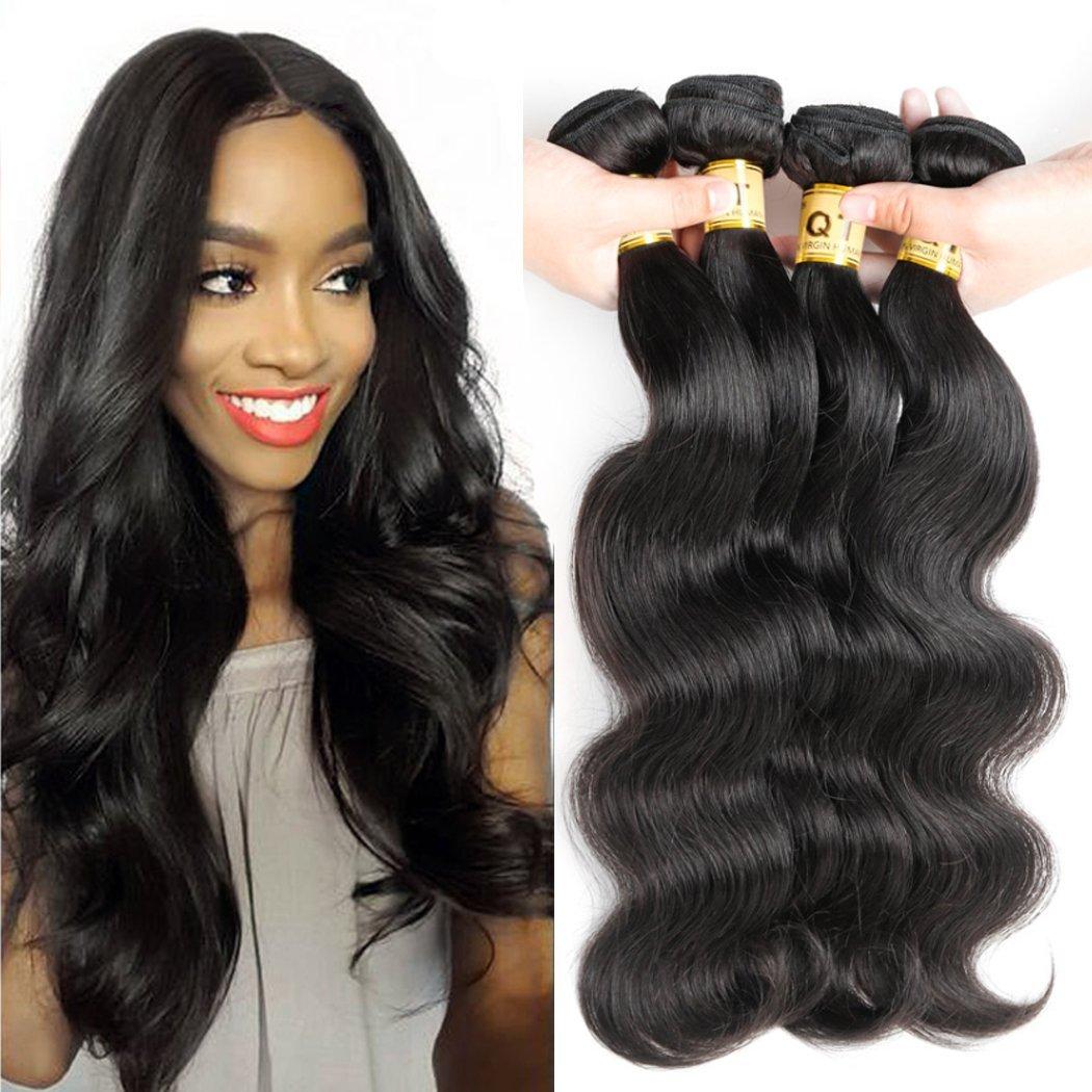 "10A Grade Unprocessed Brazilian Body Wave 4 Bundles 100% Virgin Remy Brazilian Body Wave Hair Queen Hair Company Unprocessed Wave Hair(Natural Color,16"" 16"" 18"" 18"")"