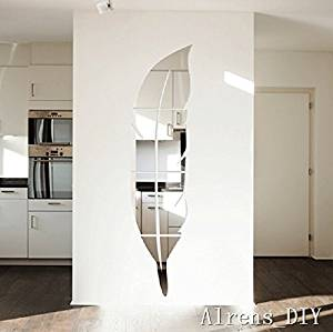 Alrens_DIY(TM) 6pcs=1 Feather Mirror Surface Crystal Wall Stickers DIY Acrylic 3D Home Decal Living Room Murals Wall Paper Decor adesivo de parede Silver&Gold (Silver)