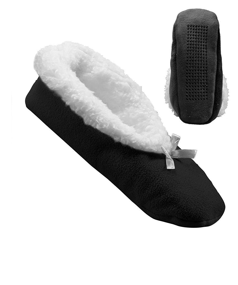 842428102da Get Quotations · Womens Extra Wide Fleece Slippers - Slip-Resistant Tread