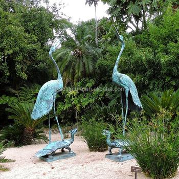 Outdoor Bronze Garden Statues Cranes