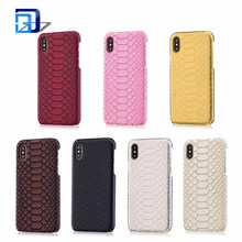 Best Selling Products Luxury Snake Skin Pattern PU Leather Phone Cases with Slim PC Hard Protective Back Cover for iPhone X