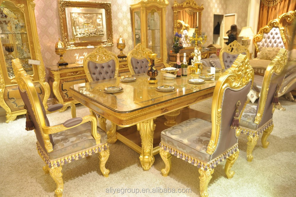 Antique European Style Furniture Round Carved Dining Table Set Solid Wood  With 24k Gold  AS6301
