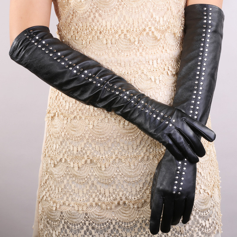 Women sexy real leather opera texting long gloves women