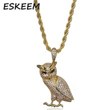 2018 Eskeem Real Hip-hop Jewelry OVO Owl Pendants and Necklaces Full Iced Out Animal Jewelry