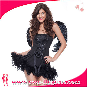 Sexy Fux Feather Black Devil Angel Woman Costume Halloween Costumes for Sale  sc 1 st  Alibaba & Sexy Fux Feather Black Devil Angel Woman Costume Halloween Costumes ...