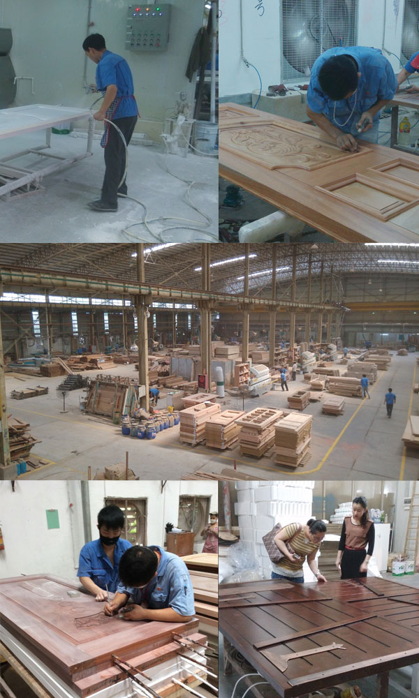 China New Modern Double Sliding Wood Doors With Art Glass Wood Door