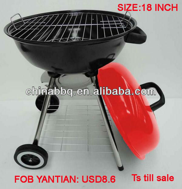 "18"" Removable Legs Metal BBQ Barbecue Kettle Grill"