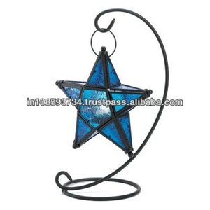 Blue Star Hanging Decorative Lantern