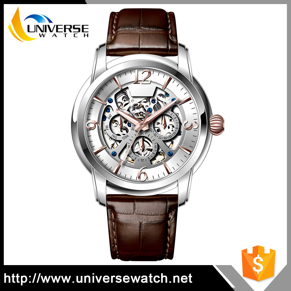 Hot! Luxury Day/Date Skeleton Automatic Watch Leather Straps Watches