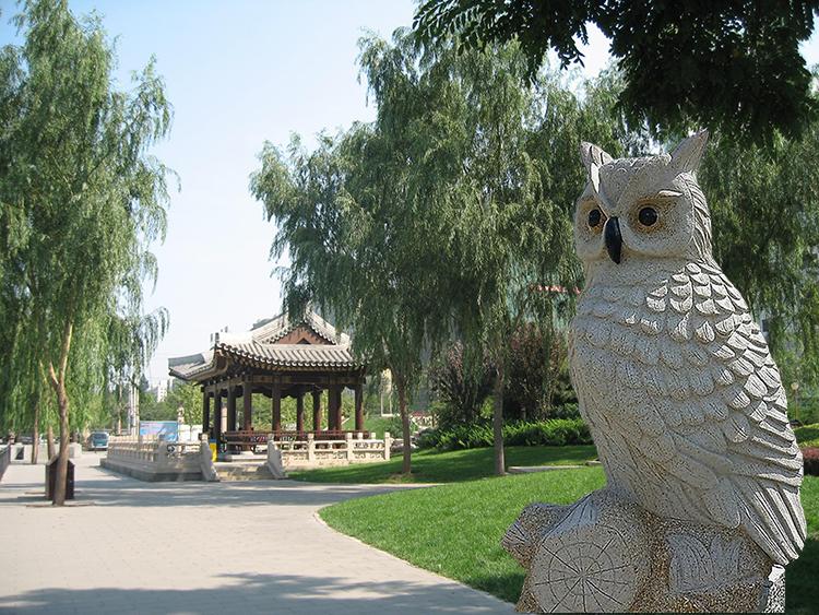 Hand Carved White Granite Stone Garden Owl Garden Statues