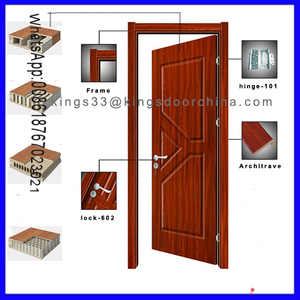 Complete set wooden single door design with frame and hardware for room