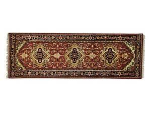S&H Rugs sh23164 3 x 8 ft. Runner Tribal Design Serapi Heriz Hand Knotted Oriental Rug, Rust Red - Gold & Light Green