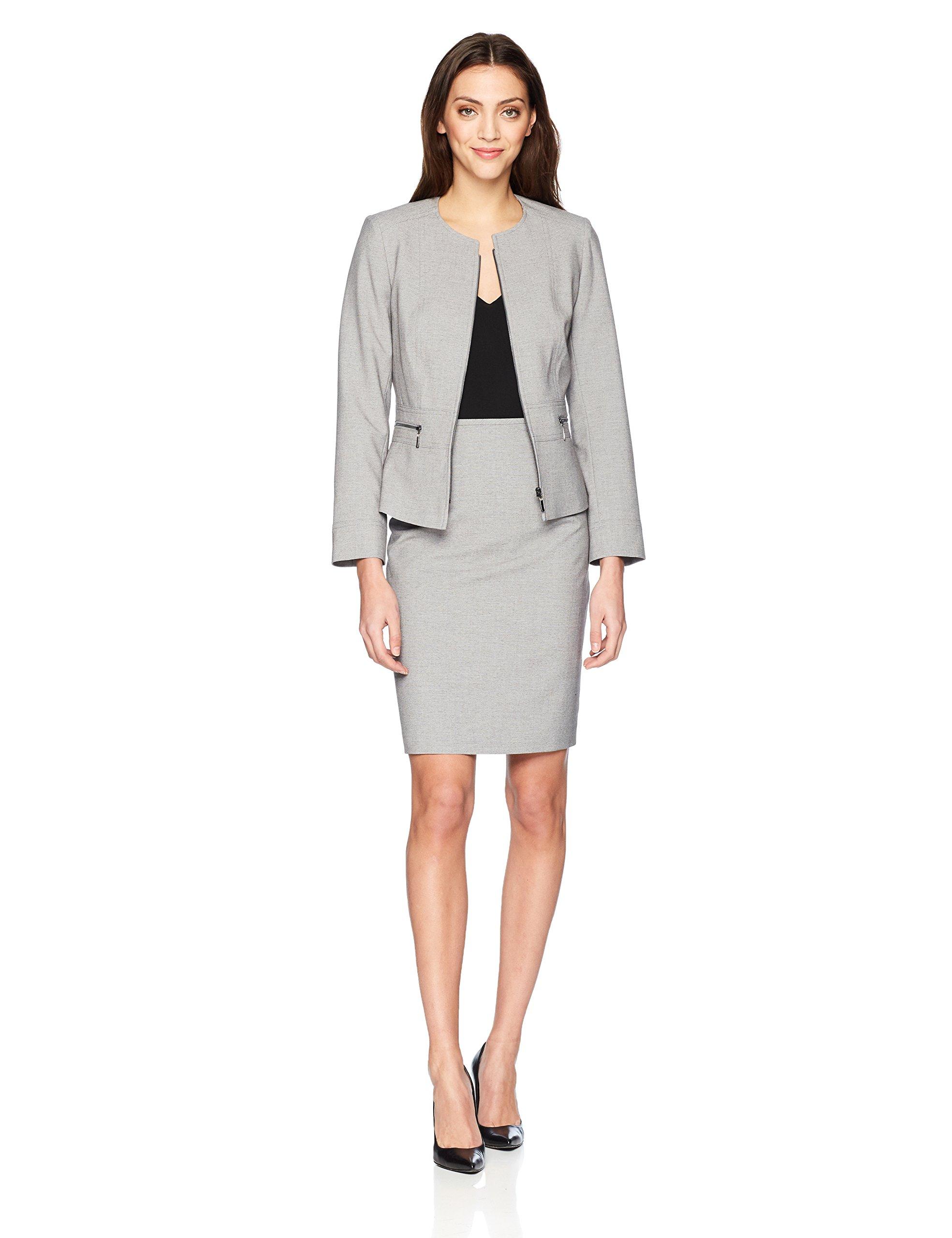6d6c583cbae3b Get Quotations · Tahari by Arthur S. Levine Women's Cross Dye Skirt Suit  With Full Front Zipper