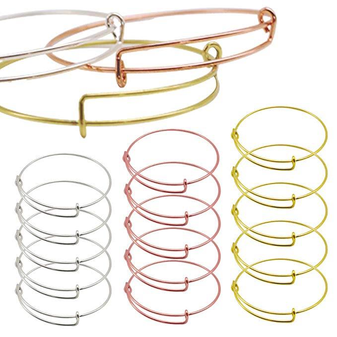 Расширяемый простой Регулируемый браслет lex для изготовления ювелирных изделий своими руками-диаметр 6,5 см-9 различных цветов покрытия