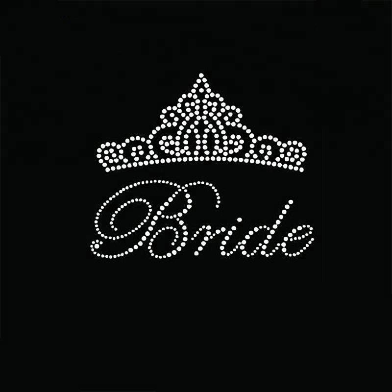 BRIDE iron on transfer white Rhinestone Crystal Wedding motif T shirt