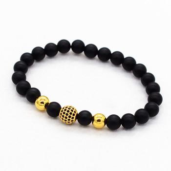 0bd1200d5e3c Mate negro onyx joyería con chapado en oro pavimentado bola pulsera para  las mujeres y los