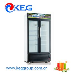 618L Supermarket Used Large Capacity Showcase Refrigerator With Moving Wheels