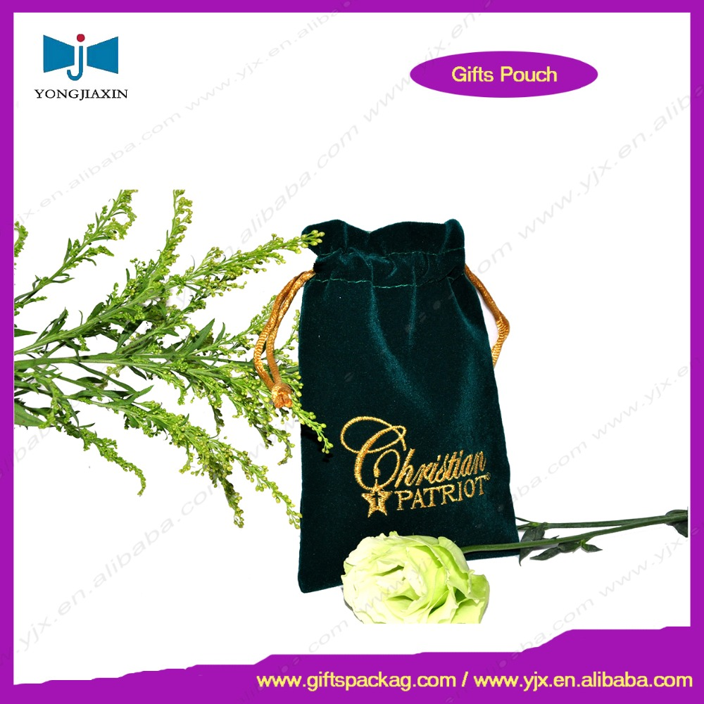 China supplier satin lined velvet pouches with embroidered logo