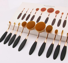 Hot sale 10 pcs oval make up brush set with private label