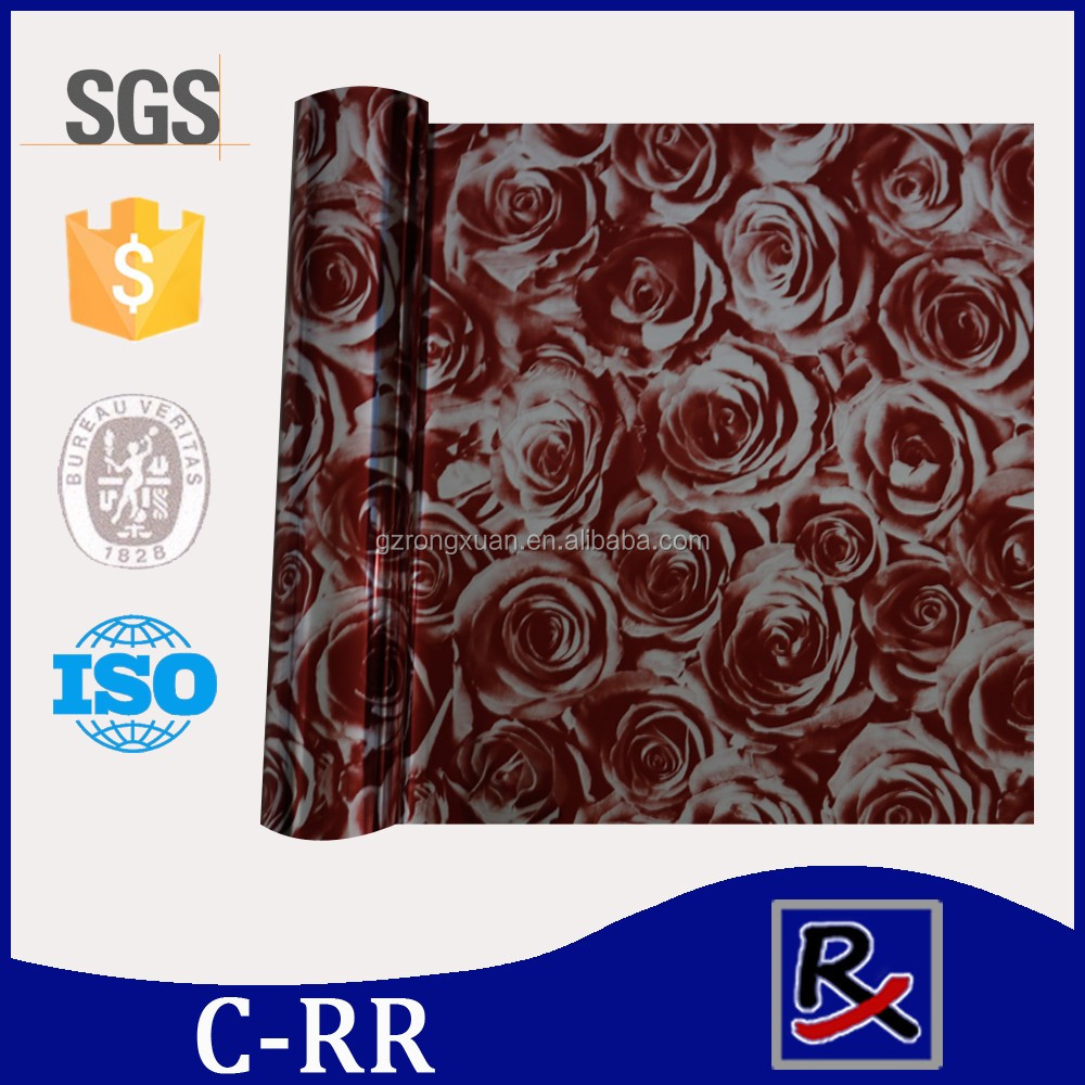 C-RR# Rose pattern pu leather heat transfer paper