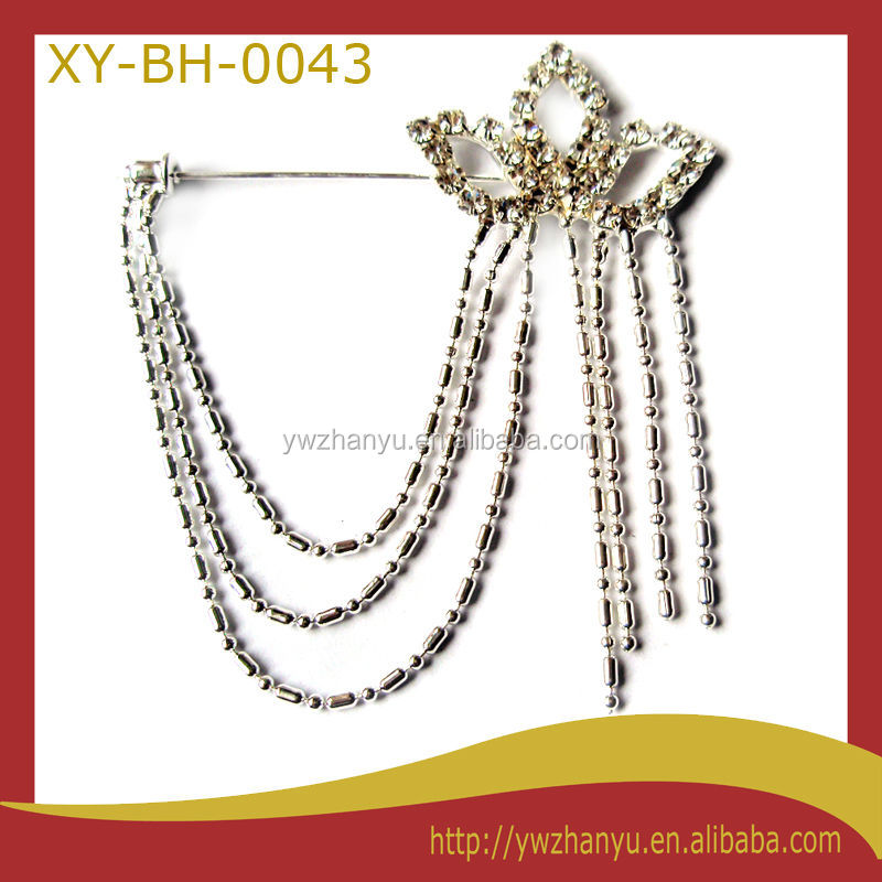 Fashion crystal crown chain tassels charm brooch