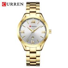 Женские часы CURREN, розовое золото 9007, модные, под платье(Китай)