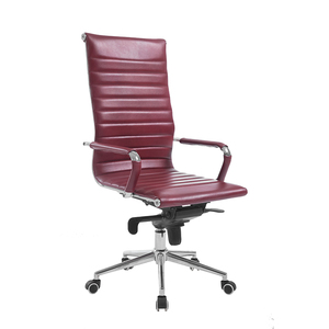 High Back Red PU Boss Executive Office Desk Chair With Castor Wheels