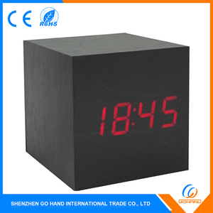 Low Price MDF Voice Control Wooden Cube Led Table Clock with LED light