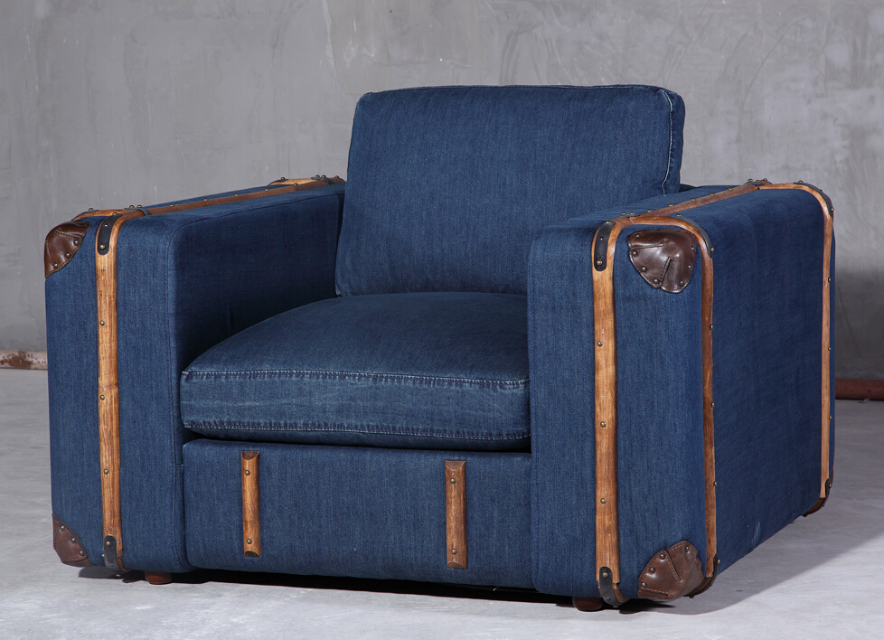 Industrial style retro rattan vintage jean fabric sofa set for Sillones de rattan