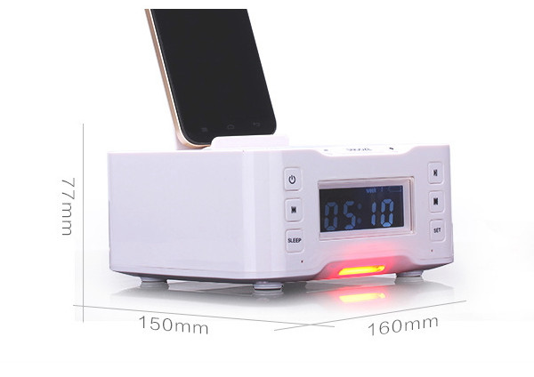 Multi-purpose remote control wireless speaker desktop station charging dock for hotel rooms