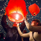Boomwow handmade 3 inches chinese lantern paper sky lantern flying paper lantern for wedding party