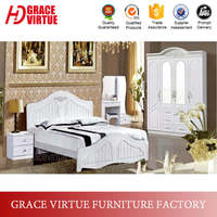 White PVC Membrane Coated King Size Beds Wooden Carved Headboard
