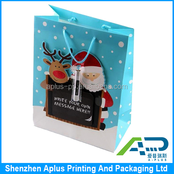 Bright Paper Christmas Gift Bag For Present Packagings, Santa Design Gift Bag for Christmas