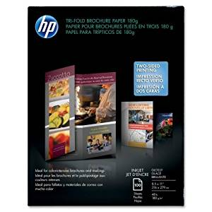 "Wholesale CASE of 10 - HP Glossy Tri-Fold Brochure Paper-Tri-Fold Brochure Paper,Glossy,8-1/2""x11"",48Lb,100 Sheets,WE"