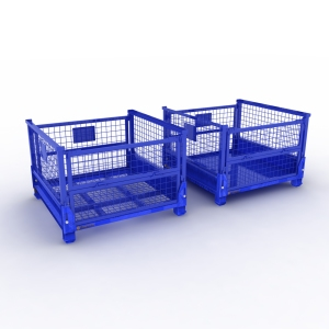 Stackable wire mesh cage foldable pallet box container