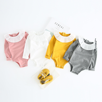 PHB12449 white collar long sleeve baby girls simple cotton rompers
