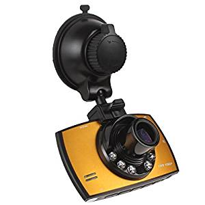 FHD 1080p Car DVR Camera Recorder with 2.7 Inch LCD Screen +140 Degree View Angle + G-sensor + Motion Detection + 4 X Digital Zoom + Loop Recorder Yellow/black