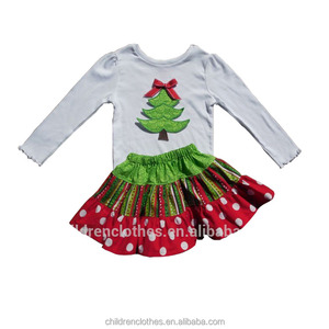 ec68f617ba038 Christmas Tree Applique Ruffled Outfit, Christmas Tree Applique Ruffled  Outfit Suppliers and Manufacturers at Alibaba.com