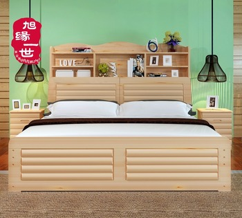 Home Use Solid Wood Bedroom Furniture Pine Wood Double Bed Designs With Box  - Buy Wood Double Bed Designs With Box,Wood Bed,Bedroom Furniture Product  ...