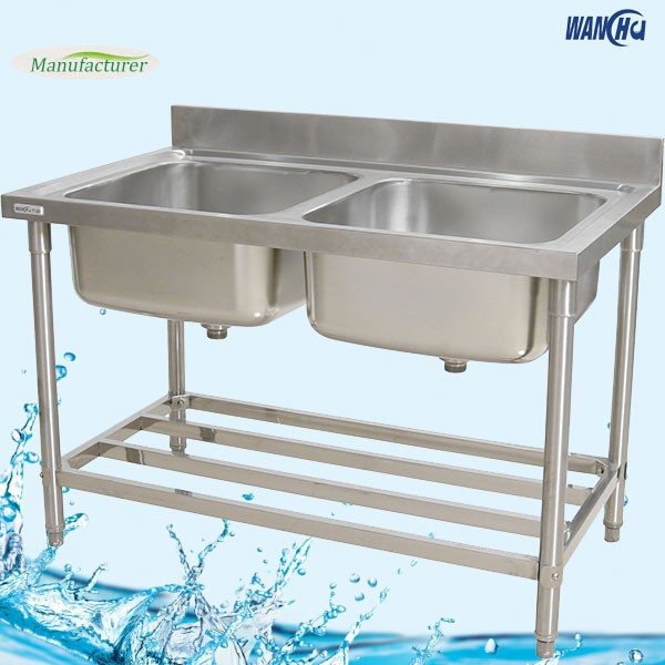 Malaysia Double Bowls Kitchen Sink Bench/Stainless Steel Kitchen Sink Table  For Restaurant Kitchen Furnitures