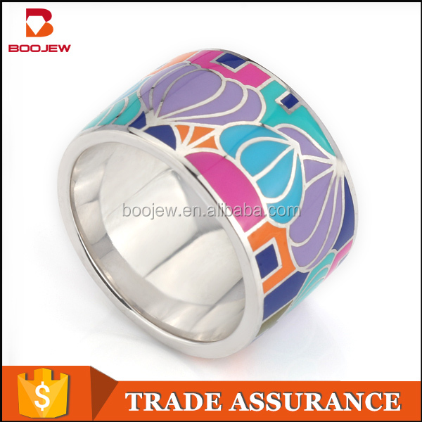 Jewelry factory ring fashion design photo 2016 new jewelry 925 sterling silver ring color Enamel Jewelry Ring