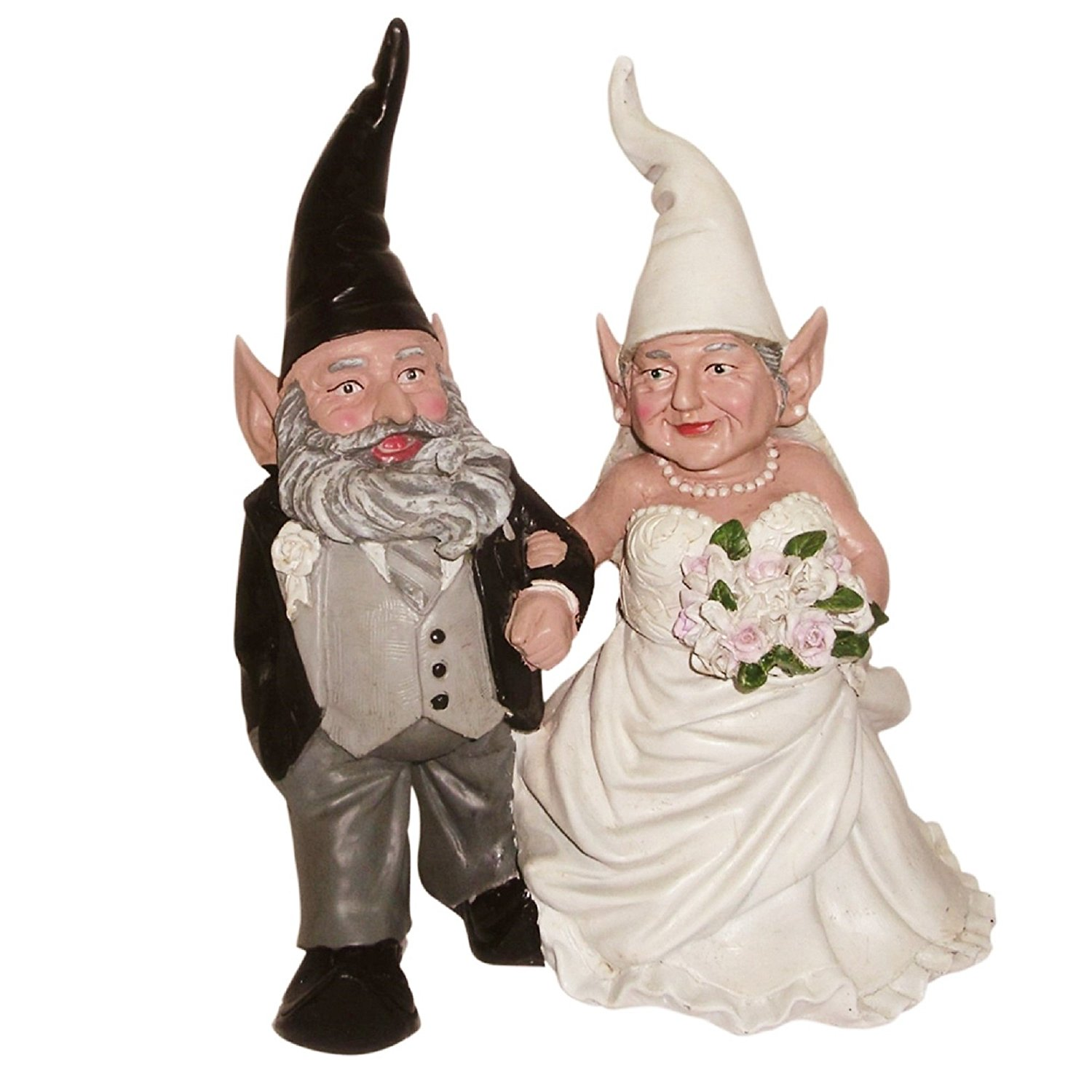 """Nowaday Gnomes - Bride & Groom Wedding Gnome Married Couple Home & Garden Gnome Collectible Statue 14""""H"""